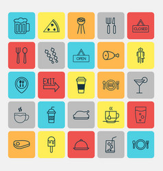 Cafe icons set collection of lemon juice steak vector