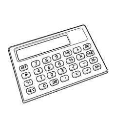 calculator out line vector image vector image