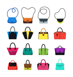 cartoon handbag or female bags color icons set vector image