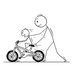 Cartoon of father and son learning to ride a bike vector