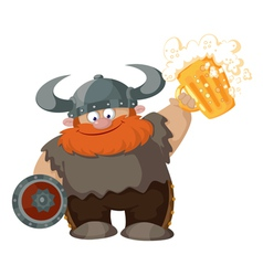 cartoon viking with beer vector image