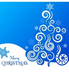 Christmas greeting card on a blue background vector image