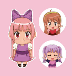 color set cute anime tennagers girl in dress with vector image
