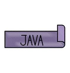 Colored pencil silhouette label text of java vector