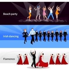 Dancing people banners vector