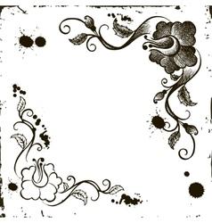 doodle flower frame grunge vector image