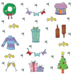 Doodle of object christmas set vector image vector image