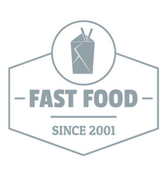 Fast food logo simple gray style vector
