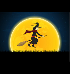 halloween witch on broom moon graveyard vector image vector image