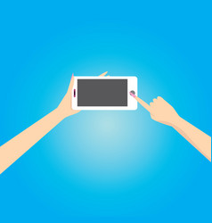 hand holding white smart phone on blue background vector image vector image