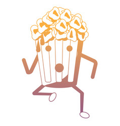 Kawaii pop corn bucket icon vector