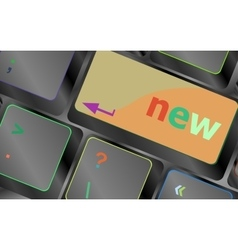 Keyboard with hot key with new word vector image