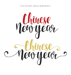 Lettering calligraphy set happy chinese new year vector
