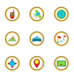 Location icons set cartoon style vector