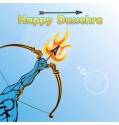 Lord rama arm with bow arrowhappy dussehra vector