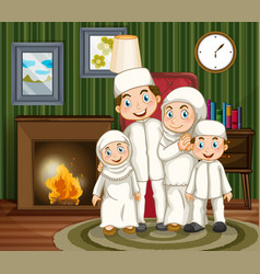 muslim family by the fireplace in the livingroom vector image vector image