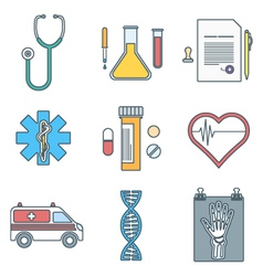 Outline color medical icons set vector