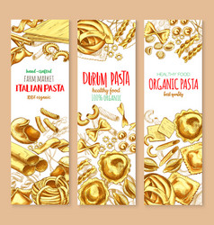 Pasta and italian macaroni banners set vector