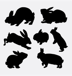 rabbit animal action silhouette vector image vector image