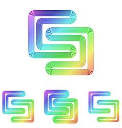Rainbow line science logo design set vector