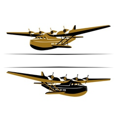 Retro airplane boat icon vector