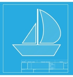 Sail boat sign white section of icon on blueprint vector