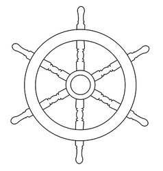 Ship wheel outline drawings vector image vector image