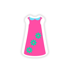 Stylish paper sticker on white background dress vector