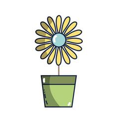 Sunflower with petals inside to flowerpot vector