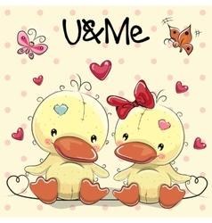 Two Cute Ducks vector image vector image