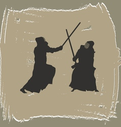 Two men engage in martial arts vector image vector image
