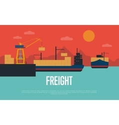 Maritime freight banner with container ship vector