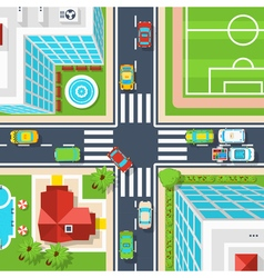 City crossroad top view vector