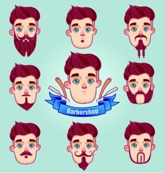 Set of different style mustaches and beards vector