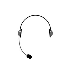 Headset isolated microphone and headphones on vector