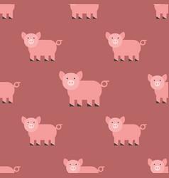 Cute pig cartoon animal seamless pattern farm vector
