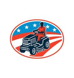 American Gardener Mowing Lawn Mower Retro vector image