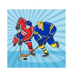 Ice hockey player front with stick retro vector