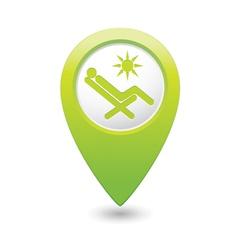 Beach chair icon green map pointer vector
