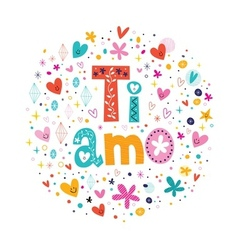 Ti amo i love you in italian hand lettering vector