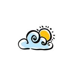 Cloudy weather icon on white background vector image