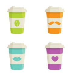 Paper coffee cups set on a white background vector