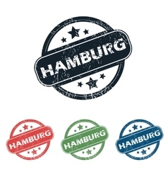 Round hamburg city stamp set vector