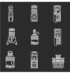 Water coolers white line icons vector