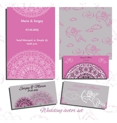 Set of wedding invitation cards with angels vector