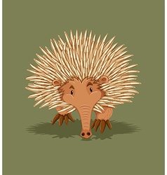 Little hedgehog walking alone vector