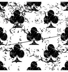Clubs pattern grunge monochrome vector
