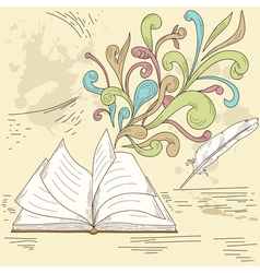 Opened book with abstract design vector