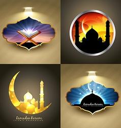 attractive set of ramadan kareem festival vector image