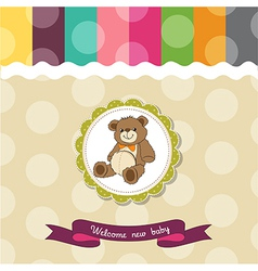 baby shower card with cute teddy bear toy vector image vector image